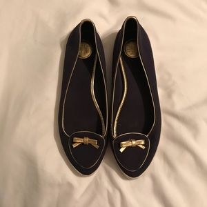 Tory Burch size 8 navy and gold flats